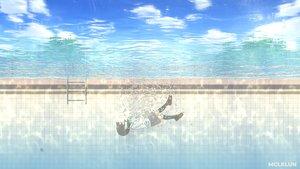 Rating: Safe Score: 15 Tags: black_hair bubbles clouds kneehighs mclelun original pool school_uniform short_hair skirt sky underwater water watermark User: RyuZU