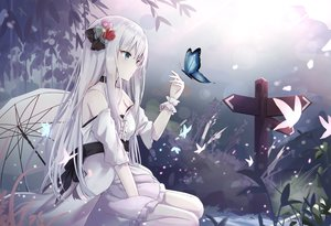 Rating: Safe Score: 141 Tags: blue_eyes butterfly dress long_hair original touhourh umbrella white_hair User: BattlequeenYume