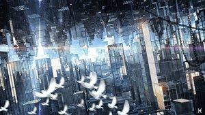 Rating: Safe Score: 53 Tags: 3d animal bird building city original reflection waisshu_(sougyokyuu) User: RyuZU