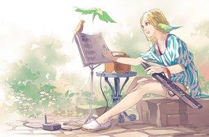 Rating: Safe Score: 32 Tags: animal bird blonde_hair blue_eyes instrument original paper risa_hibiki signed User: FormX
