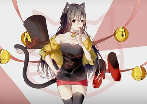 Rating: Safe Score: 31 Tags: animal_ears bell black_hair breasts catgirl cleavage collar hat long_hair red_eyes ribbons skirt tail thighhighs vocaloid vocaloid_china weitu yuezheng_ling zettai_ryouiki User: mattiasc02