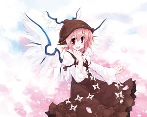 Rating: Safe Score: 16 Tags: animal_ears cherry_blossoms dress flowers hat mystia_lorelei pink_hair red_eyes short_hair touhou wings User: Tensa