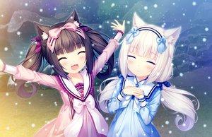 Rating: Safe Score: 28 Tags: 2girls animal_ears black_hair catgirl chocola_(sayori) game_cg loli long_hair nekopara neko_works sayori snow twintails vanilla_(sayori) white_hair User: SciFi