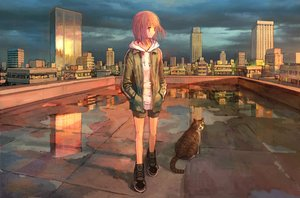 Rating: Safe Score: 29 Tags: animal building cat city hoodie original pink_hair polychromatic reflection rooftop scenic shorts tokunaga_akimasa User: FormX