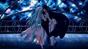 Rating: Safe Score: 24 Tags: 2girls blue_eyes blue_hair dress gloves long_hair sky tagme User: ssagwp