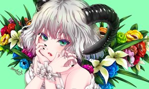Rating: Safe Score: 31 Tags: close flowers gray_hair green green_eyes horns maou(demonlord) original short_hair signed wristwear User: BattlequeenYume