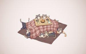 Rating: Safe Score: 65 Tags: animal_ears catgirl cat_smile food fruit kneehighs kotatsu long_hair orange_(fruit) original pantyhose school_uniform skirt sleeping syego tail User: e919916
