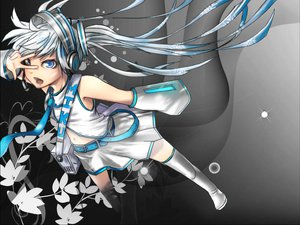 Rating: Safe Score: 38 Tags: aqua_eyes hatsune_miku headphones long_hair skirt thighhighs tie vocaloid white User: Nsslayer
