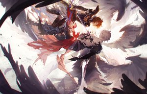 Rating: Safe Score: 56 Tags: all_male granblue_fantasy gray_hair lucilius_(granblue_fantasy) male orange_hair red_eyes sandalphon_(granblue_fantasy) short_hair sword uwro weapon wings User: RyuZU