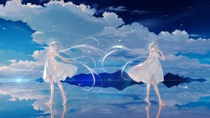 Rating: Safe Score: 79 Tags: barefoot choker clouds dress gray_hair green_eyes long_hair luo_tianyi reflection sky summer_dress tidsean twintails vocaloid vocaloid_china watermark User: otaku_emmy