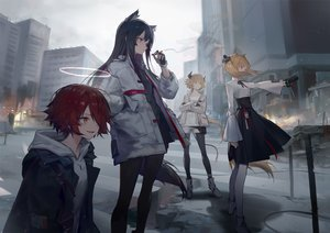 Rating: Safe Score: 80 Tags: animal_ears arknights black_hair blonde_hair boots building cigarette city croissant_(arknights) exusiai_(arknights) gloves group halo hoodie horns huanxiang_heitu long_hair orange_eyes pantyhose red_eyes red_hair shirt short_hair shorts skirt smoking sora_(arknights) texas_(arknights) twintails yellow_eyes User: BattlequeenYume