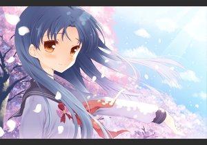 Rating: Safe Score: 40 Tags: blue_hair cherry_blossoms clouds flowers idolmaster kisaragi_chihaya komi_zumiko petals school_uniform sky yellow_eyes User: w7382001