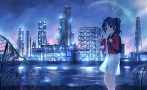 Rating: Safe Score: 50 Tags: blue_eyes blue_hair breasts building camera ezoshika_gg industrial original ponytail rain see_through short_hair silhouette skirt sky umbrella water User: RyuZU