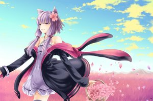 Rating: Safe Score: 174 Tags: animal_ears catgirl clouds dress hoodie long_hair namamo_nanase petals purple_eyes purple_hair sky thighhighs vocaloid voiceroid yuzuki_yukari User: gnarf1975