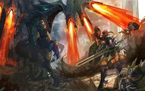 Rating: Safe Score: 46 Tags: animal armor dragon felyne long_hair monster_hunter orange_hair ponytail rathalos satoshi1923 sword tagme_(character) weapon zinogre_(armor) User: RyuZU