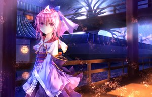 Rating: Safe Score: 32 Tags: building fromage_tart japanese_clothes night pink_eyes pink_hair saigyouji_yuyuko_(living) sky stars touhou tree water User: BattlequeenYume