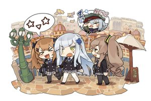 Rating: Safe Score: 20 Tags: animal anthropomorphism bird brown_hair building cat_smile chibi city g11_(girls_frontline) girls_frontline gray_hair green_eyes hat hk416_(girls_frontline) itsuki_tasuku long_hair pantyhose scar seifuku skirt sleeping tattoo thighhighs twintails ump-45_(girls_frontline) ump-9_(girls_frontline) water User: otaku_emmy