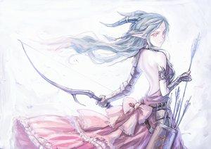 Rating: Safe Score: 123 Tags: armor blue_hair bow bow_(weapon) dress gloves horns long_hair original pink_eyes pixiv_fantasia pointed_ears ryuuzaki_ichi tattoo weapon white User: HawthorneKitty