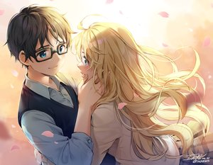 Rating: Safe Score: 28 Tags: arima_kousei blonde_hair ika_(4801055) long_hair male miyazono_kaori petals shigatsu_wa_kimi_no_uso signed User: mattiasc02