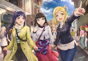 Rating: Safe Score: 59 Tags: animal black_hair blonde_hair blue_hair building cat city cross green_eyes group kurosawa_dia long_hair love_live!_school_idol_project love_live!_sunshine!! matsuura_kanan necklace ohara_mari pantyhose ponytail purple_eyes scarf shamakho signed skirt User: RyuZU