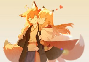 Rating: Safe Score: 57 Tags: 2girls animal_ears blonde_hair foxgirl japanese_clothes long_hair orange orange_hair original polychromatic shoujo_ai tagme_(artist) tail User: sadodere-chan