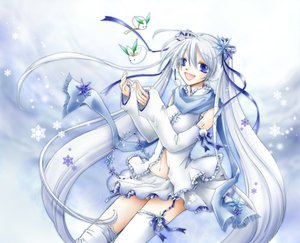 Rating: Safe Score: 26 Tags: blue_eyes hatsune_miku snow stockings twintails vocaloid white white_hair yuki_miku User: HawthorneKitty