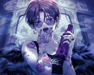 Rating: Safe Score: 18 Tags: aki_(xxparadexx) all_male bandaid black_eyes black_hair drink male original scar short_hair sunglasses tattoo User: RyuZU