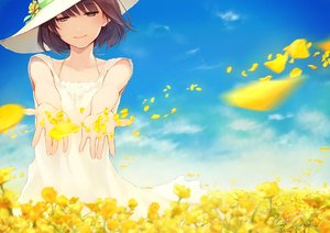 Rating: Safe Score: 187 Tags: brown_hair dress flowers fuyuno_yuuki hat original petals short_hair signed yellow_eyes User: FormX
