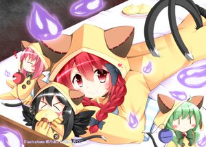 Rating: Safe Score: 92 Tags: blush bow catgirl chibi fang kaenbyou_rin komeiji_koishi komeiji_satori red_hair reiuji_utsuho short_hair tail touhou wings User: opai