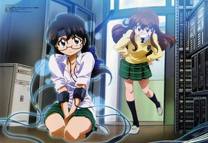 Rating: Safe Score: 18 Tags: 2girls black_hair bra brown_eyes brown_hair code-e computer ebihara_chinami glasses headband kneehighs kujou_sonomi long_hair saitou_tetsuhito scan school_uniform skirt underwear watermark User: Oyashiro-sama