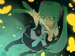 Rating: Safe Score: 125 Tags: butterfly green green_eyes green_hair hatsune_miku headphones leek long_hair maruku tie twintails vocaloid water User: Oyashiro-sama