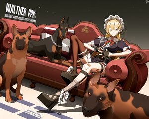 Rating: Safe Score: 30 Tags: animal anthropomorphism bandaid blonde_hair circle_a couch dog garter girls_frontline gloves headdress kneehighs lolita_fashion long_hair military ppk_(girls_frontline) skirt stockings thighhighs uniform yellow_eyes User: otaku_emmy