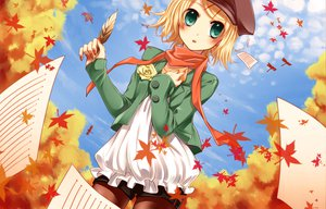 Rating: Safe Score: 56 Tags: autumn blonde_hair feathers flowers green_eyes hat kagamine_rin leaves rose scarf sky vocaloid yayoi_(egoistic_realism) User: opai