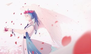 Rating: Safe Score: 48 Tags: aircraft aqua_eyes aqua_hair dress flowers hatsune_miku headdress hua_ben_wuming long_hair paper petals summer_dress tie twintails vocaloid wings wristwear User: sadodere-chan