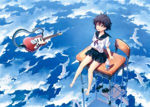 Rating: Safe Score: 53 Tags: guitar instrument kuuchuu_yousai original reflection scan seifuku water User: luckyluna