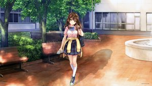 Rating: Safe Score: 55 Tags: brown_hair drink hair_ribbon original pisuke school_uniform summer third-party_edit tree yellow_eyes User: gnarf1975