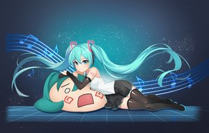 Rating: Safe Score: 43 Tags: aqua_eyes aqua_hair gradient hachune_miku hatsune_miku hpb8642 long_hair music tattoo thighhighs twintails vocaloid User: RyuZU