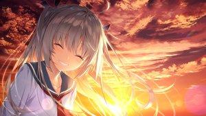 Rating: Safe Score: 83 Tags: atri_(atri_-my_dear_moments-) atri_-my_dear_moments- close front_wing game_cg sunset yusano User: mattiasc02