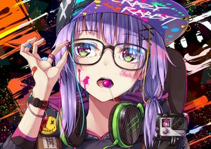 Rating: Safe Score: 98 Tags: bandaid camera candy close flask_(pandora) glasses green_eyes hat headphones lollipop purple_hair tattoo vocaloid voiceroid wristwear yuzuki_yukari User: RyuZU