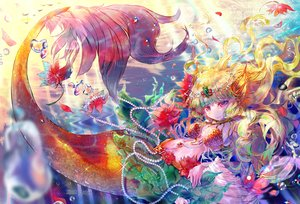 Rating: Safe Score: 29 Tags: aliasing blonde_hair blush breasts bubbles cat_smile flowers headdress lapia long_hair mermaid navel original petals pink_eyes tail underwater water watermark User: RyuZU