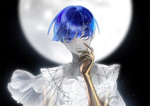 Rating: Safe Score: 20 Tags: anthropomorphism bicolored_eyes bloodcat_(babacatcat) blue_hair houseki_no_kuni moon night phosphophyllite short_hair signed stars User: FormX