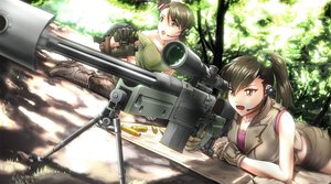 Rating: Safe Score: 170 Tags: 2girls boots brown_hair doku_hebi futami_ami futami_mami gloves gun headphones idolmaster ponytail short_hair shorts thighhighs weapon User: opai