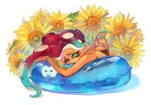 Rating: Safe Score: 20 Tags: barefoot bikini dark_skin flowers green_eyes iida_(splatoon) signed sizu splatoon summer sunflower swim_ring swimsuit tentacles wink wristwear User: otaku_emmy