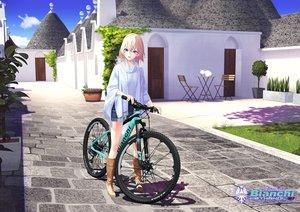 Rating: Safe Score: 50 Tags: animal bicycle blonde_hair cat green_eyes hitomi_kazuya original shorts User: gnarf1975