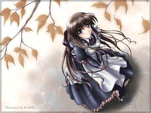 Rating: Safe Score: 22 Tags: apron autumn bell blush bow brown_eyes brown_hair leaves long_hair maid r ribbons tree User: Oyashiro-sama