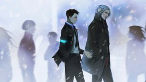 Rating: Safe Score: 60 Tags: brown_hair cigarette connor_(detroit:_become_human) detroit:_become_human gray_hair hank_anderson male robot short_hair smoking snow suit tagme_(artist) tie User: otaku_emmy
