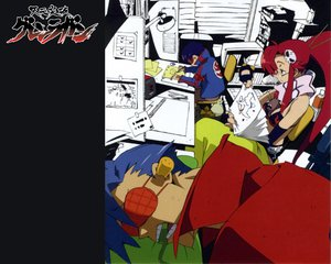 Rating: Safe Score: 15 Tags: boota gainax glasses kamina simon tengen_toppa_gurren_lagann yoko_littner User: Oyashiro-sama