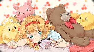 Rating: Safe Score: 40 Tags: agnamore bed blonde_hair blush close game_console green_eyes headband loli original teddy_bear twintails waifu2x User: BattlequeenYume