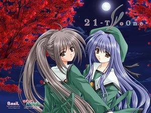 Rating: Safe Score: 7 Tags: 21 blue_hair brown_eyes brown_hair futami_mao futami_mio long_hair school_uniform twins User: oranganeh