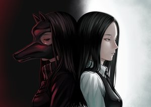 Rating: Safe Score: 104 Tags: animal_ears black_hair gray_eyes irimi_kaya long_hair mask red_eyes tie toamariitutu tokyo_ghoul User: otaku_emmy